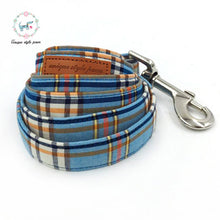 Premium Blue Plaid  Dog Collar , Matching  Bow Tie and Leash