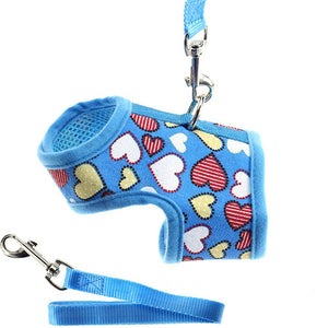 Heart Printed Dog Harness or Cat Harness and Matching Leash Set
