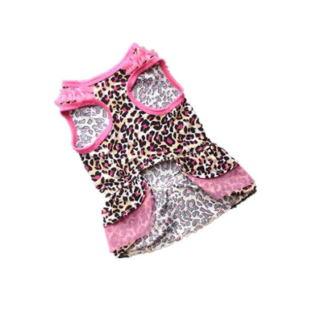 Leopard Print Small Dog Dress with Pink Trim