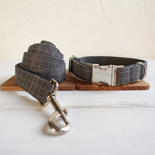 THE SUIT PLAID Collection Premium Dog Collar and Leash Set