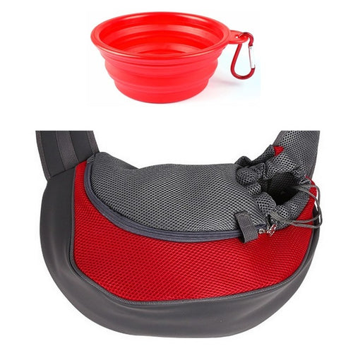 Pet Sling Style Carrier with Portable Bowl