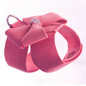 GLORIOUS KEK Soft Suede Leather Small Dog Harness for Puppies Chihuahua Yorkie Cute Pet Harness with Leash Bow Rhinestones Pink