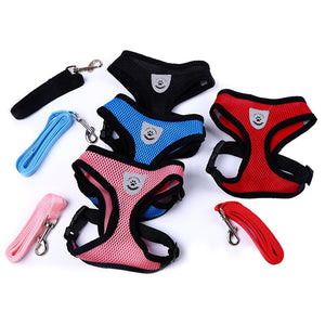 New Soft Breathable Air Nylon Mesh Small Dog Harness Cat Harness and Leash Set