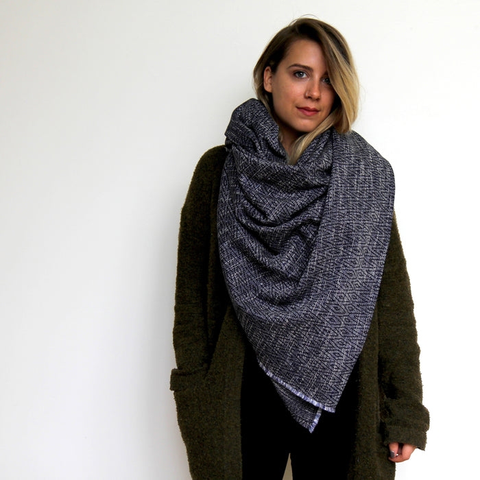 Savasana Blanket Scarf - Navy Diamond