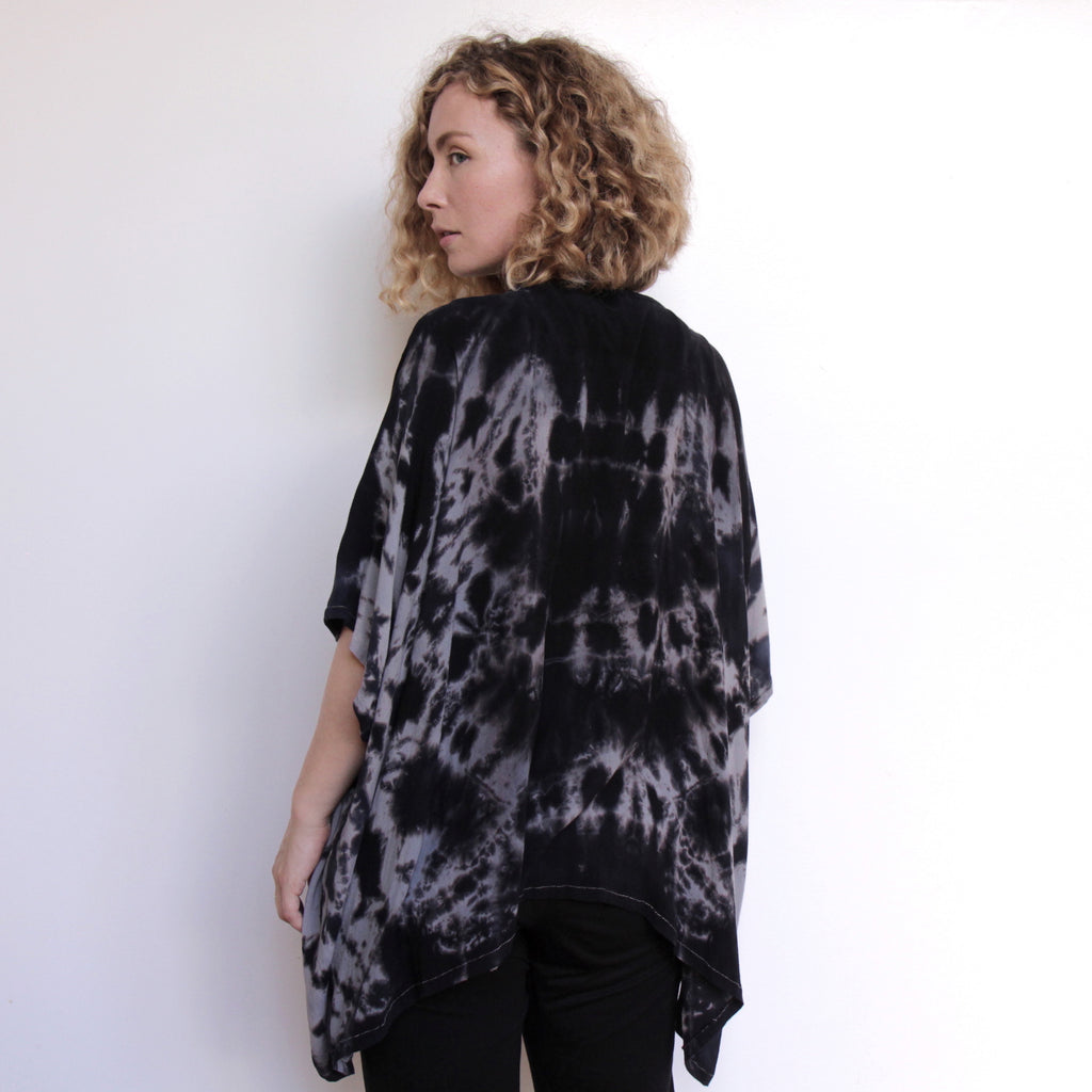 Cocoon Shawl - Hand Dyed Navy & Grey