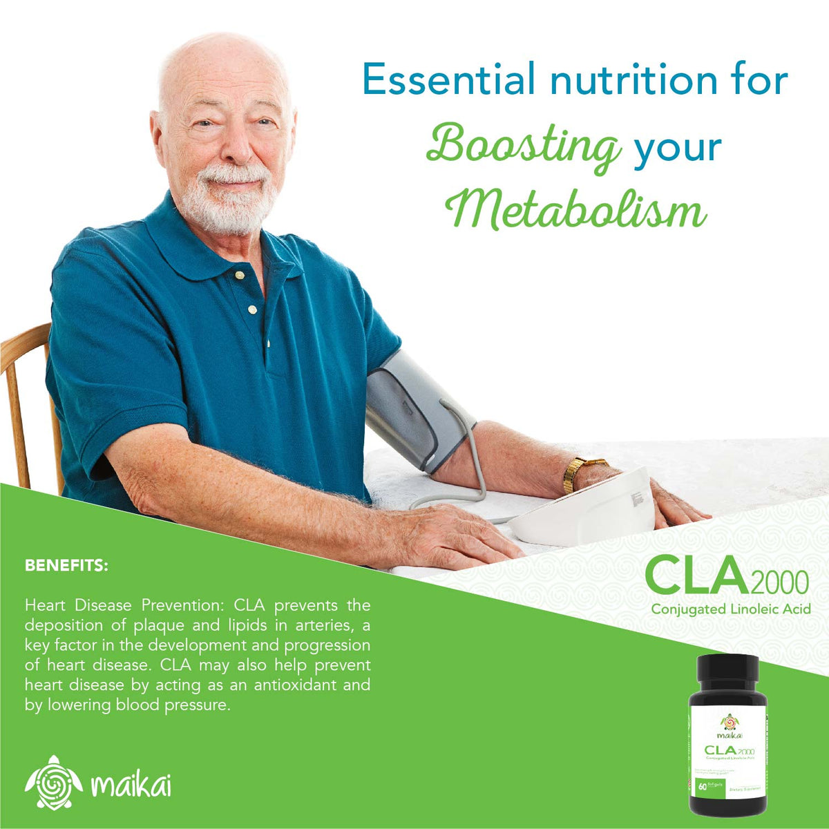 CLA 2000 mg with active Conjugated Linoleic Acid. 60 Softgels