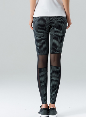 Striped Grey Reflective Leggings
