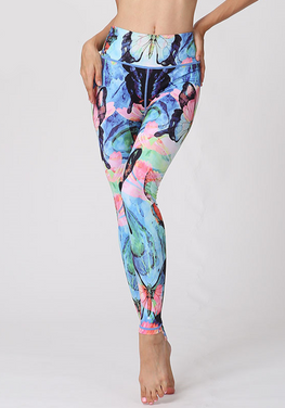 Blue Abstract Print Slim Fit Leggings