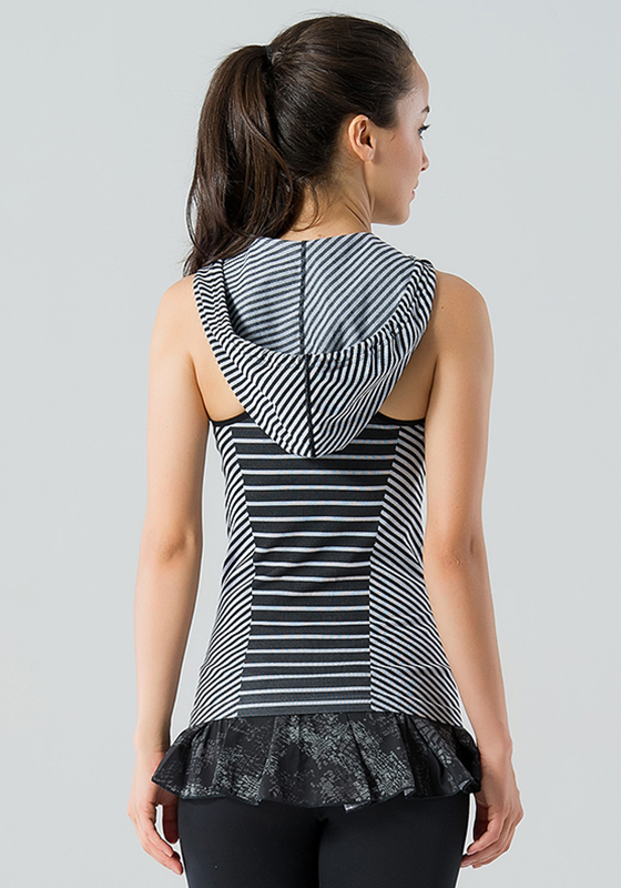 Hooded Seamless Striped Top