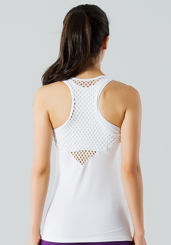 White Slim Fit Hollow-Back Yoga Shirt