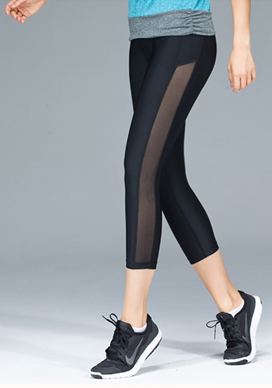 Solid Stitched Mesh Panel Capris