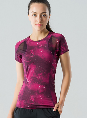 Red Star Mesh Paneled Short-Sleeve Yoga Top