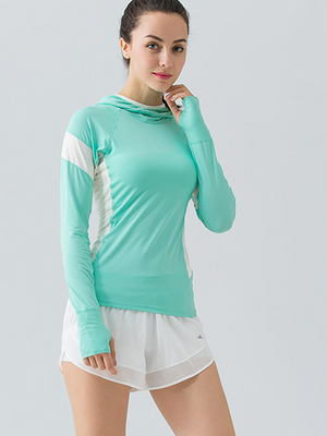 Hooded Mesh Panel Yoga Top