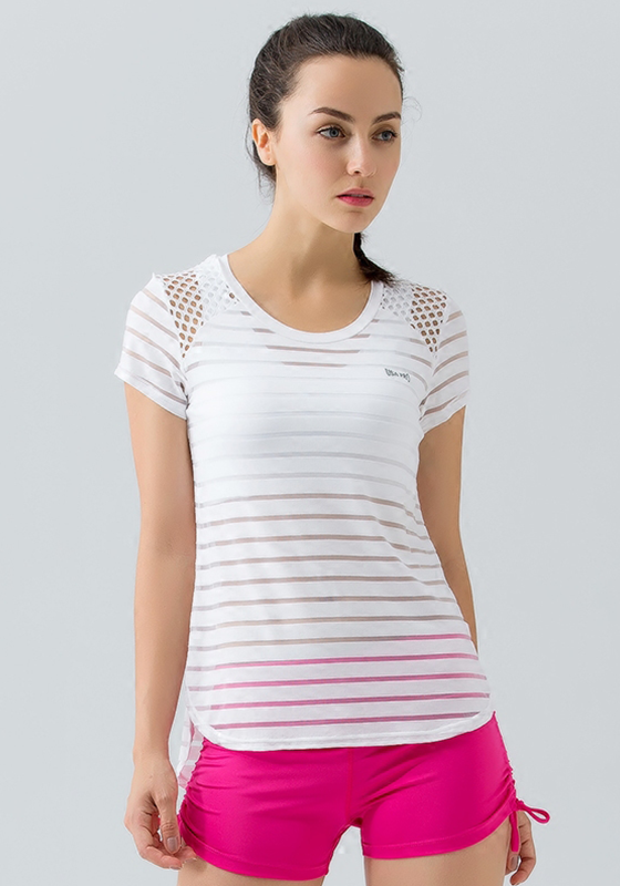 Shadow Stitched Striped Hollow Out Yoga Top