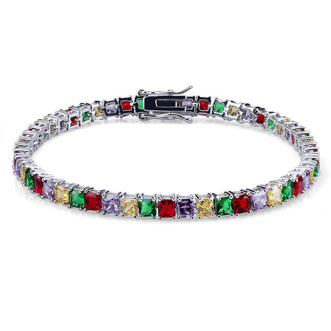 4MM DIAMOND 3-PRONGED MULTI COLOR TENNIS BRACELET