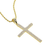 Flooded Micro Diamond Large Cross Necklace