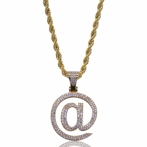 "AA+ MICRO DIAMOND ""@"" NECKLACE *NEW*"