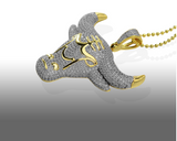 14k Lab Diamond Bull Pendant