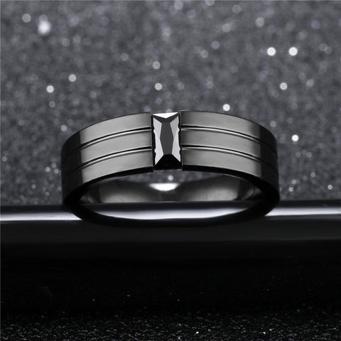 Vintage Ring For Men Crystal Zircon Black Rock Style ring