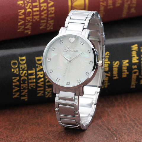 Crystal White Gold Analog Watch