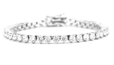 4MM Diamond 3-Pronged Tennis Bracelet In White Gold *NEW*
