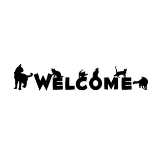 WELCOME Word with Black Cats Wall Sticker Removable DIY Murals Wall Art Home Decor