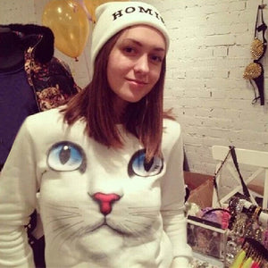 Women 3D Beads Cat Sweatshirt O Neck Pullovers Long Sleeve Blouse Tops