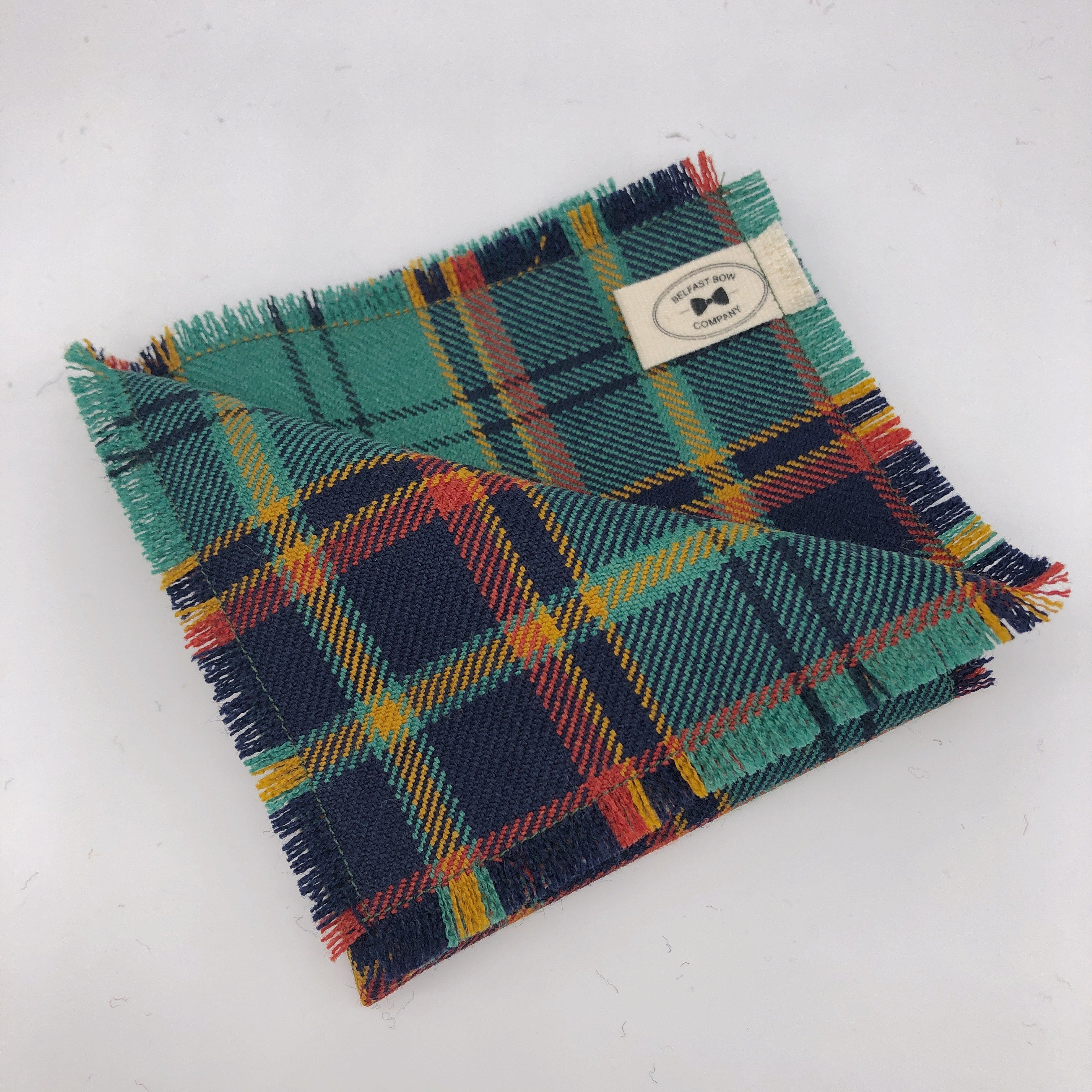 County Antrim Tartan Pocket Square by the Belfast Bow Company