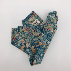 Liberty of London Pocket Square in Green Birds Strawberry Thief Print by the Belfast Bow Company