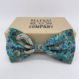 Liberty of London Bow Tie in Teal Paisley by the Belfast Bow Company