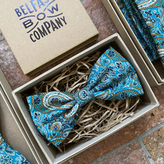 Liberty of London Bow Tie in Lee Manor Teal Paisley by the Belfast Bow Company