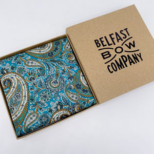 Liberty of London Pocket Square in Teal Paisley by the Belfast Bow Company