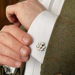 Causeway Cufflinks featuring hexagonal columns in silver by the Belfast Bow Company