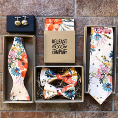 Boho Blooms full collection by the Belfast Bow Company Bow Tie Pocket Square Cufflinks Tie