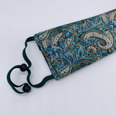 Adjustable Liberty Face Mask in Teal Paisley by the Belfast Bow Company