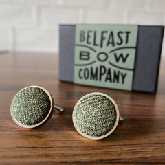 Islay Tweed Cufflinks in Olive Green by the Belfast Bow Company