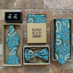 Liberty of London Pocket Square in Teal Paisley