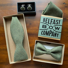 Islay Tweed Collection in Olive Green by the Belfast Bow Company