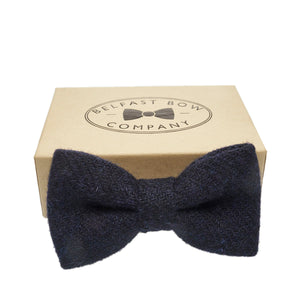 Dark Navy Bow Tie in Harris Tweed