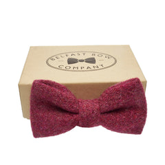 Harris Tweed Bow Tie in Raspberry by the Belfast Bow Company