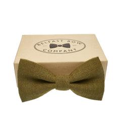 Irish Linen Bow Tie in Moss Green by the Belfast Bow Company