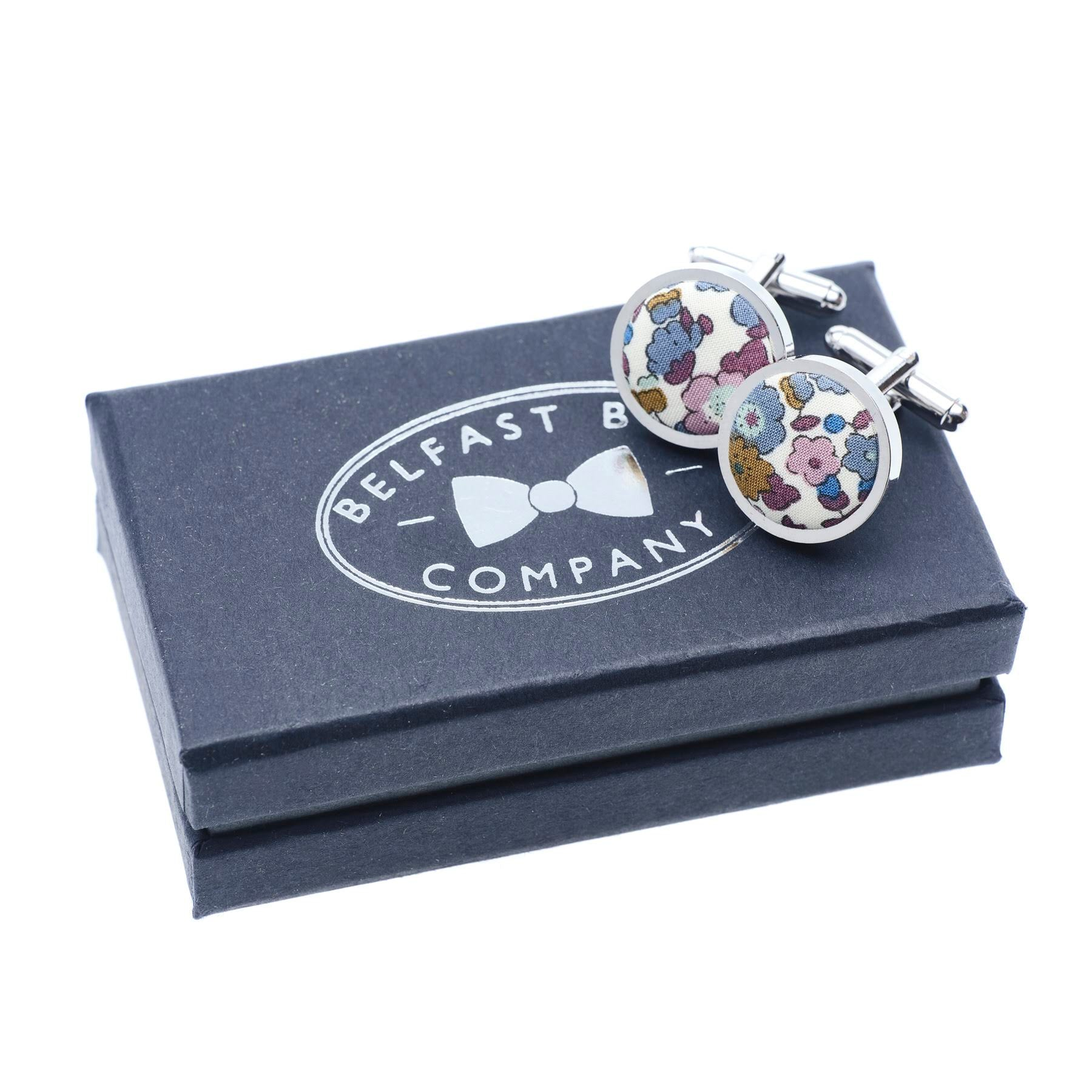 Liberty of London Cufflinks in Fig Floral by the Belfast Bow Company Gift Boxed