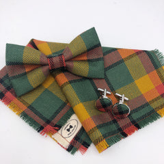 County Londonderry Tartan  Bow Tie, Pocket Square and Cufflinks - Ulster County Tartan Collection by the Belfast Bow Company