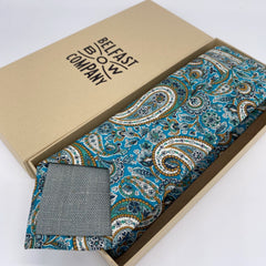 Liberty of London Tie in Teal Paisley, tipped with Irish Linen, by the Belfast Bow Company
