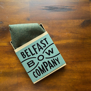 Islay Tweed Pocket Square in Olive Green by the Belfast Bow Company