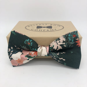Dark Green Boho Bow Tie with Large floral by the Belfast Bow Company