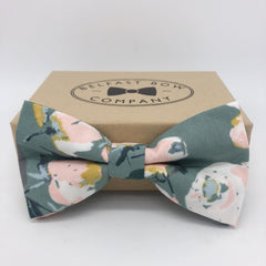 Boho Bloom Bow Tie in Dark Sage Green Floral
