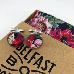 Liberty of London Cufflinks in Poppy by the Belfast Bow Company