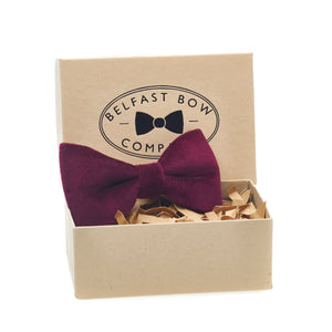 Burgundy Velvet Bow Tie by the Belfast Bow Company