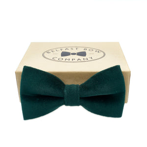 Green Velvet Bow Tie by the Belfast Bow Company